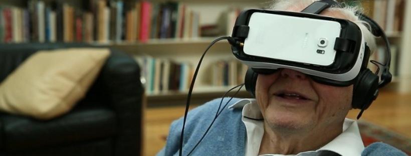 David Attenborough wearing a virtual reality headset. Credit: BBC One
